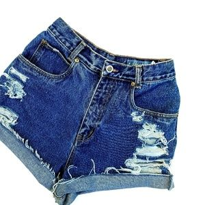 Vintage Lawman Distressed High Waisted Shorts
